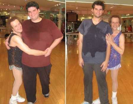 Left: Richard and me in January, 2010. I was 402 pounds. Right: Richard with me weighing well over 10 pounds less.