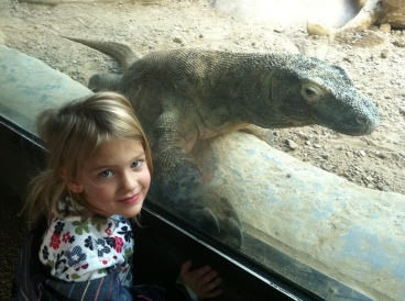 My niece Allison and a komodo dragon.
