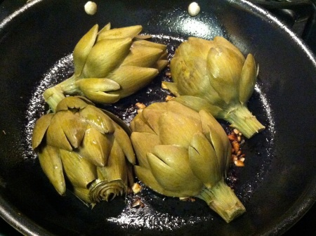 artichoke-halves-in-skillet