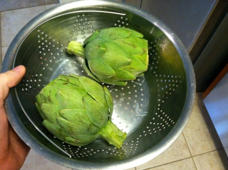 two-artichokes-in-steamer-basket