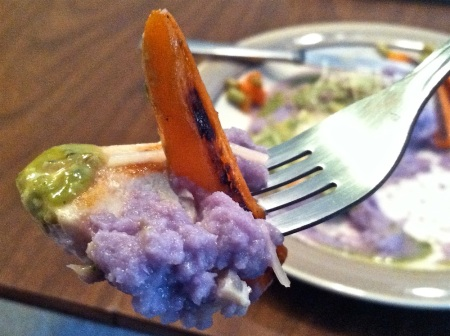 tuna-steak-carrot-purple-cauliflower-mash-on-fork