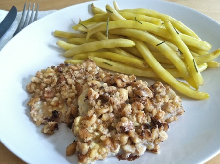 Walnut-Crusted-Flounder-Yellow-Wax-Beans