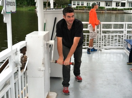 David-cranking-chain-ferry-saugatuck