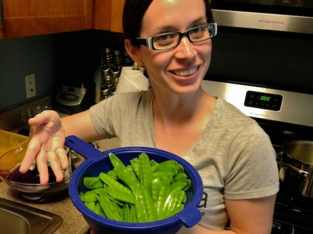 katie-holding-drained-snow-peas