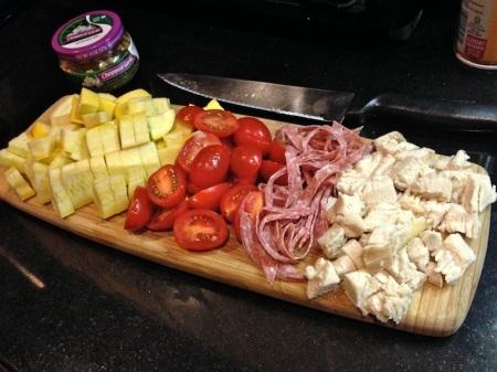 Chopped-yellow-squash-tomato-salami-chicken