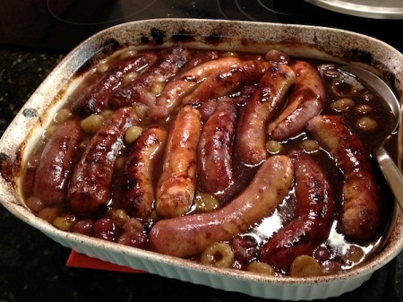 Roasted-Sausages-and-Grapes