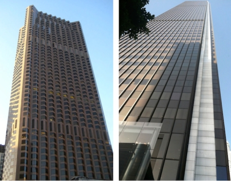 San Francisco's 555 California Street on the left, LA's Aon Center on the right.