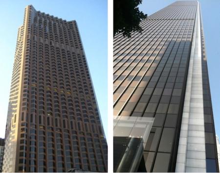 San Francisco's 555 California Street on the left, LA's Aon Center on the right.