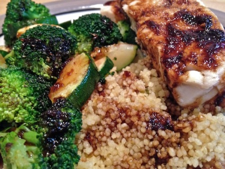 close-up-hake-glaze-couscous-broccoli-zucchini