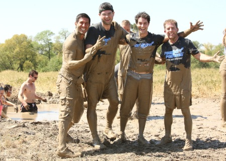 After the first mud challenge, which was jumping in and climbing out of mud pools.