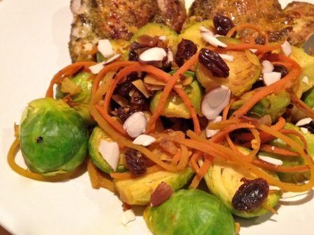 brussels-sprouts-carrots-raisins-chicken-thighs