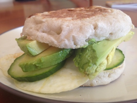 breakfast-sandwich-muffin-egg-avocado-cucumber