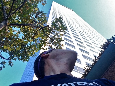 David-looking-up-wells-fargo-building