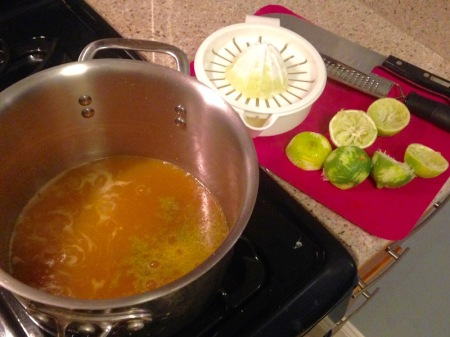 pineapple-juice-lime-zest-saucepan