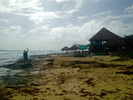 david-waving-cozumel-beach-south-point