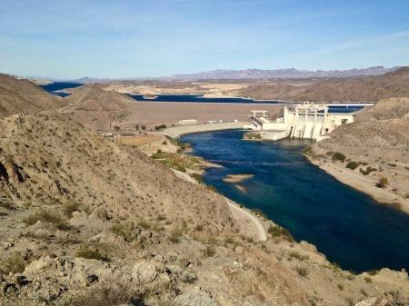 Davis Dam, and Lake Mojave behind it.