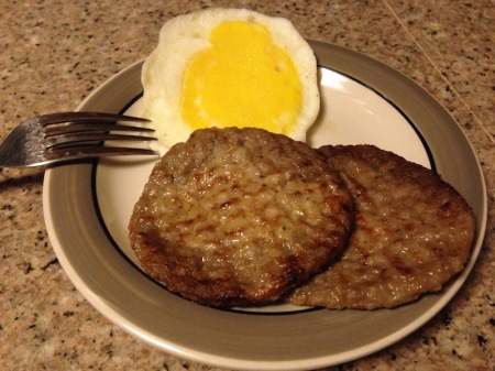 Breakfast: Egg patty with maple sausage
