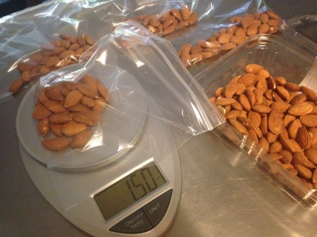 almonds-on-food-scale