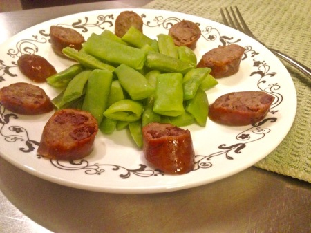 Cranberry and Cognac Sausage, with Italian Green Beans