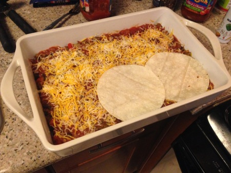 adding-second-layer-mexican-casserole