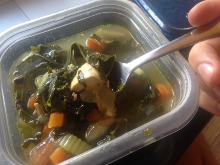 It's carrots, celery, kale, broth, and rotisserie chicken.
