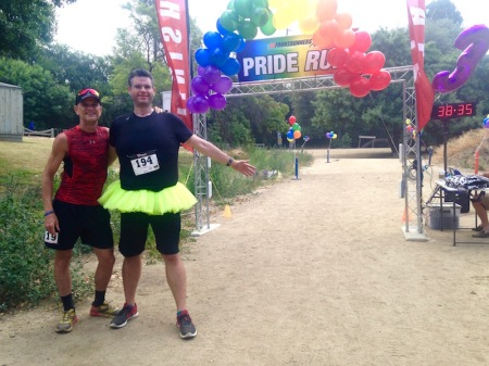 My friend Jeff and I near the start and finish line.