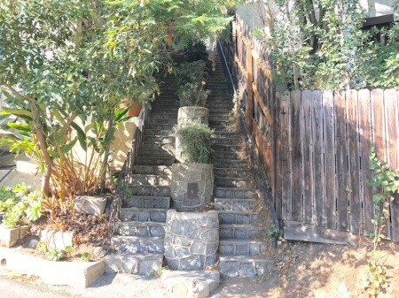 There's a plague on the lowest planter, commemorating these stairs as a Los Angeles Cultural-Historical landmark!
